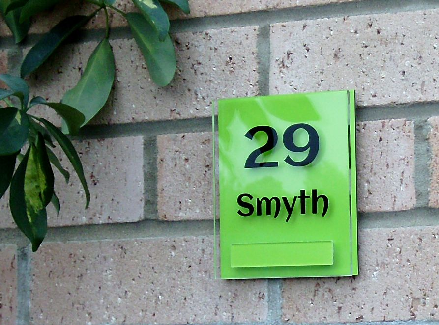 Lyndon small double acrylic house sign by Plastic Republic. Perfect for apartments, room numbers or homes where space is a premium. Size 110 x 130mm. Only £23.99