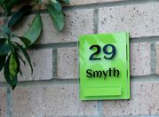 Lyndon small double acrylic house sign by Plastic Republic. Perfect for apartments, room numbers or homes where space is a premium. Size 110 x 130mm Only £23.99