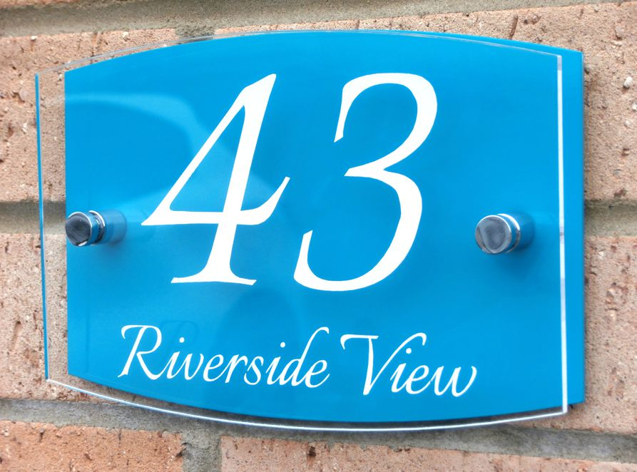Contemporary Marletti double acrylic house number sign with chrome stand off fixings shape T4 by Plastic Republic.Size 210 x 148. Price £24.98