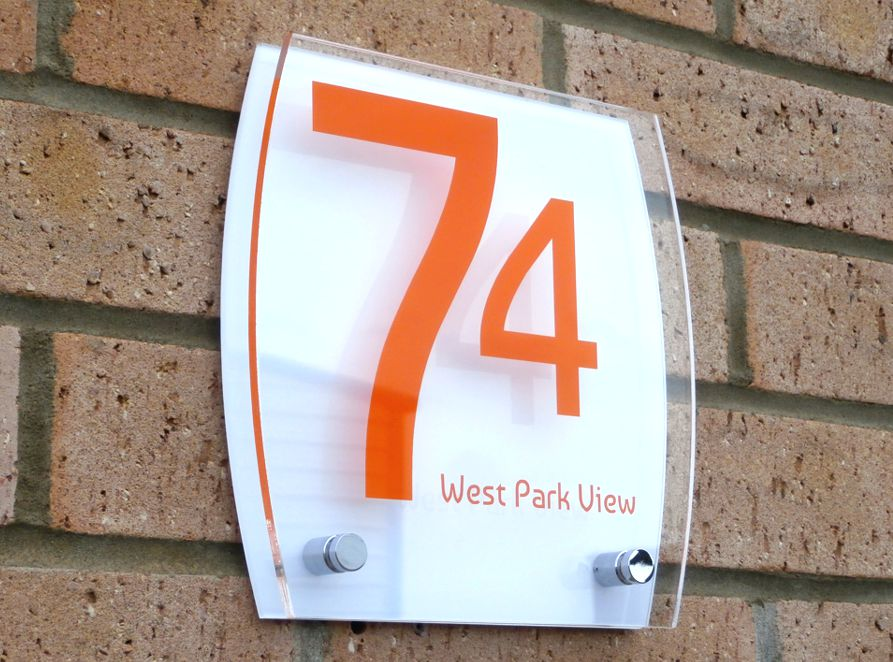 Sienna House number sign by Plastic Republic. More space for you to design a unique house plaque for your home. This T4 shape is a very contemporary design and incorporates two acrylic plates and chrome stand off fixings. Size 200 x 200mm. Price £39.98