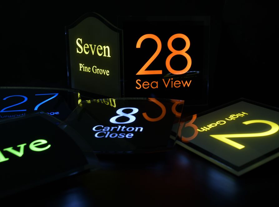 Sirius LED illuminated house number sign by Plastic Republic. A stunningly stylish, beautifully made sign that you will be proud to own. 2 sizes, 6 design shapes to choose from and many colours and fonts to create a perfect, powerful illuminated sign.