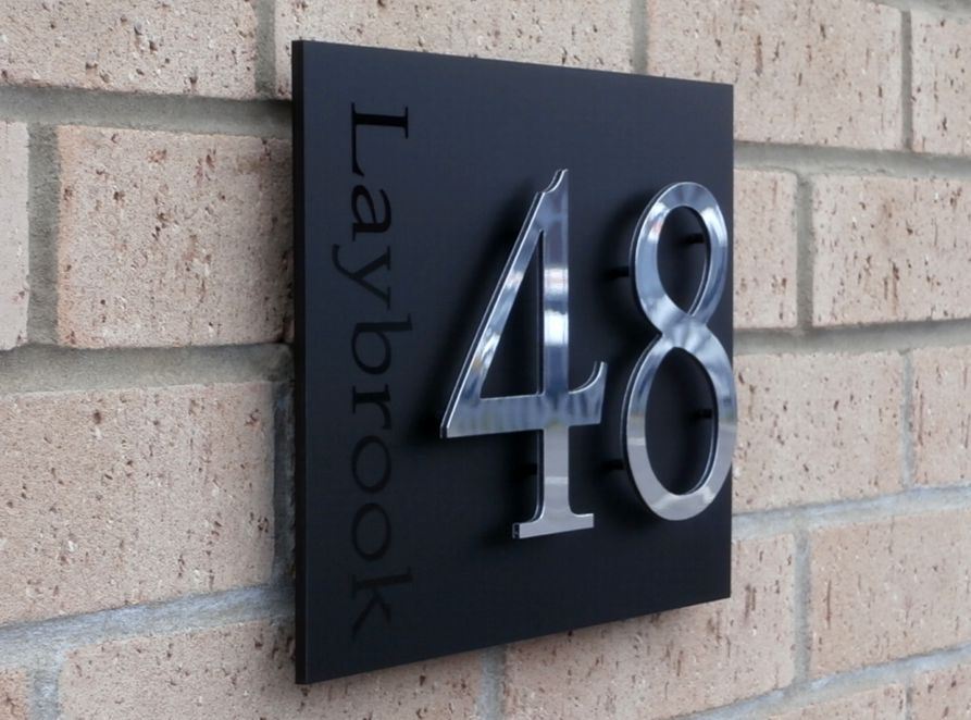 Sorrento House number sign by Plastic Republic. This iconic floating house plaque is created using Italian matt acrylic with raised off individual numbers. Available with many sizes and design options