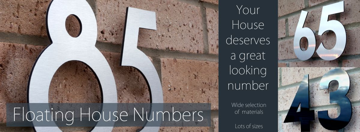 Floating and flat cut house numbers