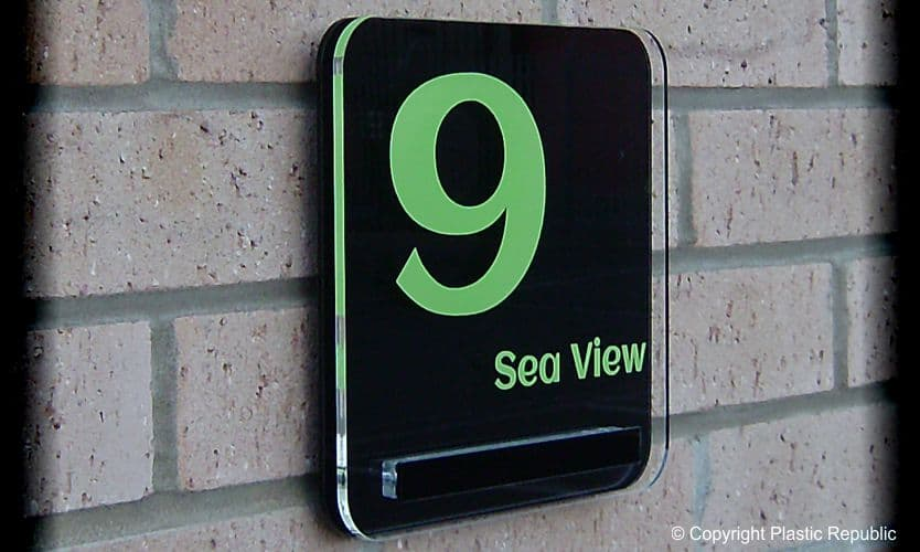 Cayman house number plaque Lime Green T2